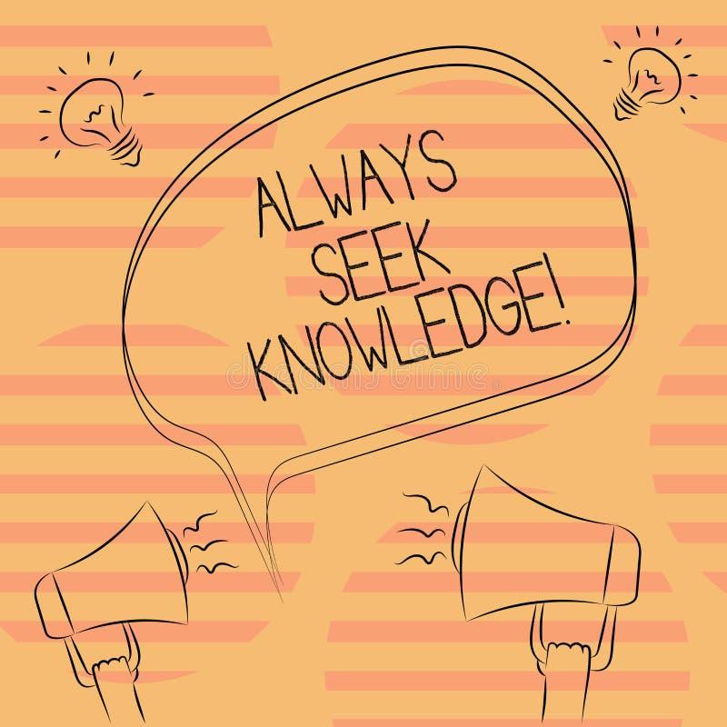 Wortschreibenstext immer Suchvorgang-Wissen Geschäftskonzept für starke Richtung des Autodidact des ausgesuchten Wissens freihänd lizenzfreie abbildung