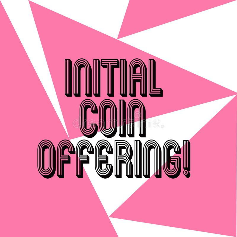 Wortschreibenstext Initialen-Münzen-Angebot Geschäftskonzept für ist eine Art Mengenfinanzierung unter Verwendung der Schlüsselwä stock abbildung