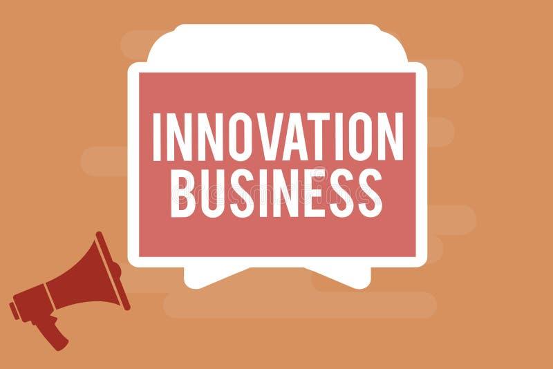 Wortschreibenstext Innovations-Geschäft Geschäftskonzept für Introduce neue Ideen-Arbeitsfluss-Methodologie-Dienstleistungen stock abbildung