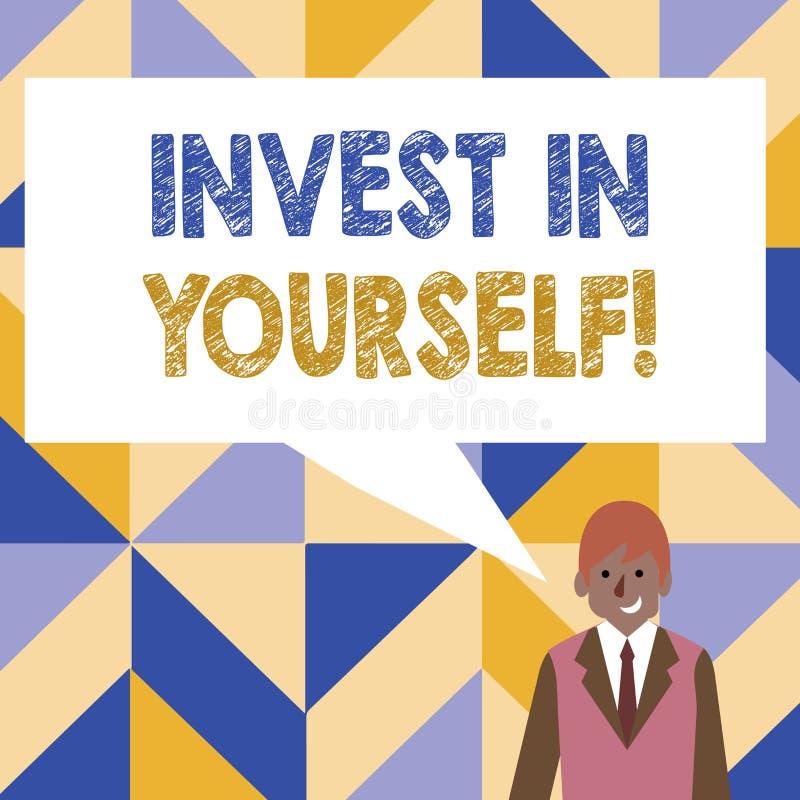 Wortschreibenstext investieren in selbst Geschäftskonzept für die neue Sachen oder Materialien lernen, die folglich Ihr Los besse stock abbildung