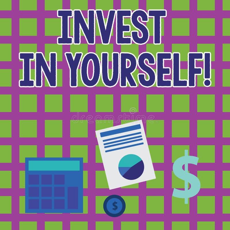 Wortschreibenstext investieren in selbst Geschäftskonzept für die neue Sachen oder Materialien lernen, die folglich Ihr Los besse vektor abbildung