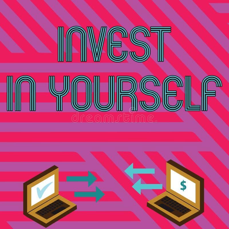 Wortschreibenstext investieren in selbst Gesch?ftskonzept f?r die neue Sachen oder Materialien lernen, die folglich Ihr Los besse vektor abbildung