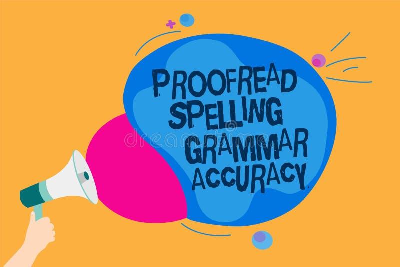 Wortschreibenstext Korrektur gelesen, Grammatik-Genauigkeit buchstabierend Geschäftskonzept für grammatisch korrektes vermeiden F stock abbildung