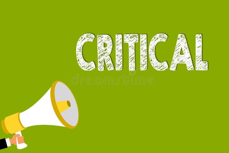 Wortschreibenstext kritisch Geschäftskonzept für das Ausdrücken des nachteiligen Missbilligungskommentarurteile Enttäuschungs-Man vektor abbildung