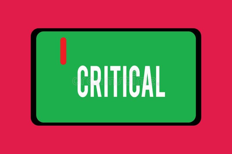 Wortschreibenstext kritisch Geschäftskonzept für das Ausdrücken nachteiliger Missbilligungskommentarurteile Enttäuschung vektor abbildung