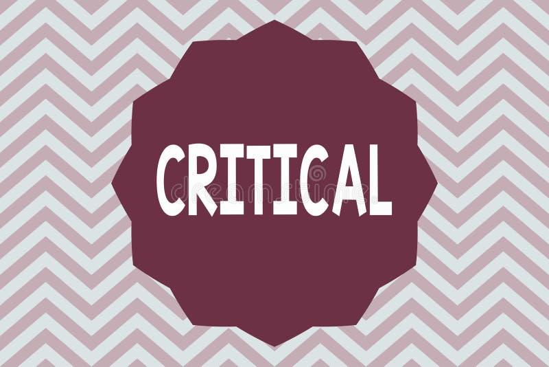 Wortschreibenstext kritisch Geschäftskonzept für das Ausdrücken nachteiliger Missbilligungskommentarurteile Enttäuschung lizenzfreie abbildung