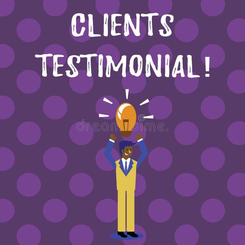 Wortschreibenstext Kunden-Referenz Geschäftskonzept für Kunden-persönliche Erfahrungen wiederholt Meinungs-Feedback stock abbildung