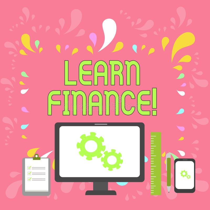 Wortschreibenstext lernen Finanzierung Geschäftskonzept für Studie, die herausfindet, wie Vertretung und Geschäft Geld benutzt stock abbildung
