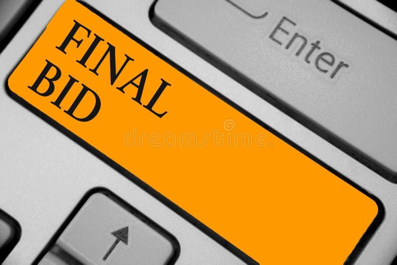 Wortschreibenstext letztes Angebot Geschäftskonzept für die entschiedenen Kosten eines Einzelteils, das normalerweise orange Schl stockbild