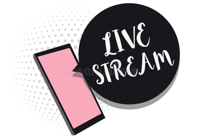 Wortschreibenstext Live Stream Geschäftskonzept für übertragen oder empfangen Video- und Audioabdeckung über Internet-Handy recei vektor abbildung