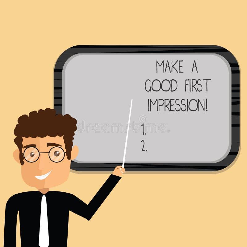 Wortschreibenstext machen einen guten ersten Eindruck Geschäftskonzept für Introduce in einem großen Blick und Stimmung Mann vektor abbildung