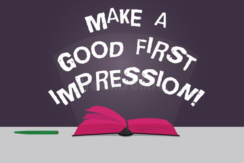 Wortschreibenstext machen einen guten ersten Eindruck Geschäftskonzept für Introduce in einer großen Blick und Stimmung Farbe lizenzfreie abbildung