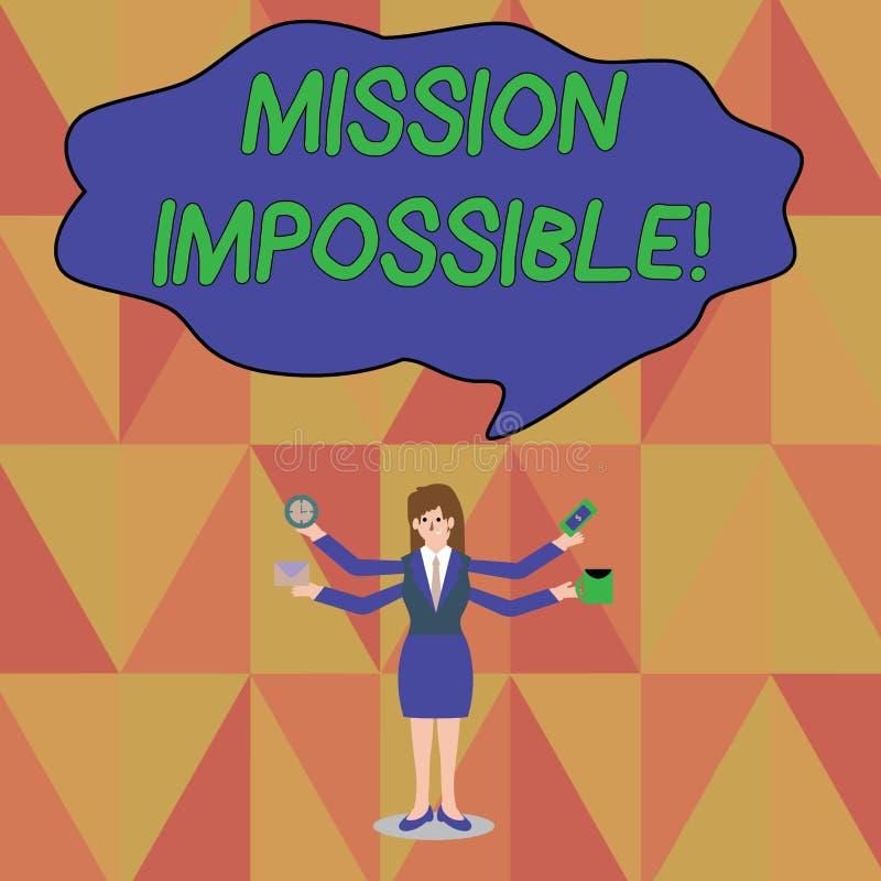 Wortschreibenstext Mission Impossible Gesch?ftskonzept f?r unvorstellbare Aufgabe des schwierigen gef?hrlichen Auftrags vektor abbildung