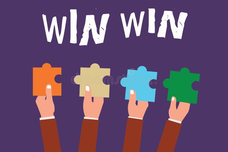 Wortschreibenstext mit Gewinn für beide Parteien Geschäftskonzept für Strategie für beide Teile erhalten Nutzen Verhandlungs-Vere lizenzfreie abbildung