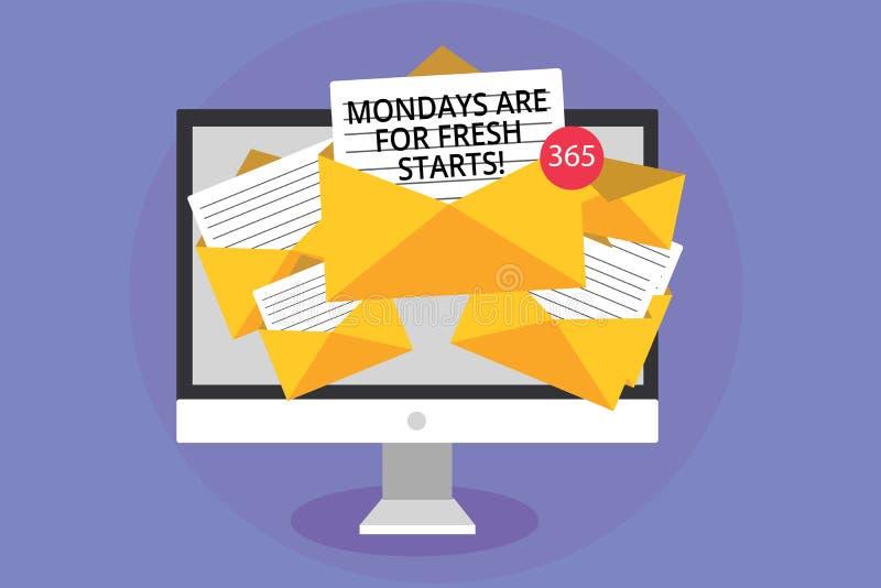 Wortschreibenstext Montage sind für Neustarts Geschäftskonzept für Begin wieder jede Woche haben ein guter Morgen Computerempfang lizenzfreie abbildung