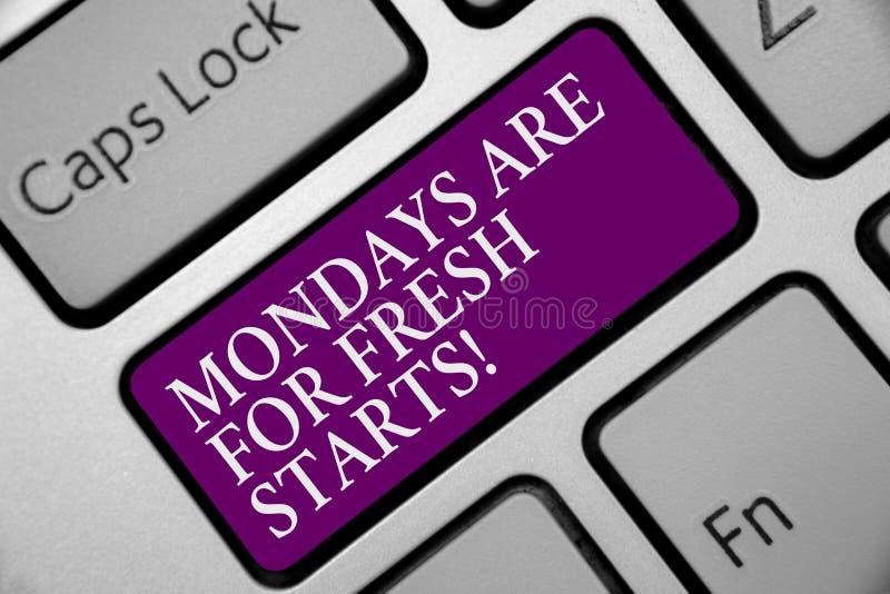 Wortschreibenstext Montage sind für Neustarts Geschäftskonzept für Begin wieder jede Woche haben eine guter Morgen Tastatur purpu vektor abbildung