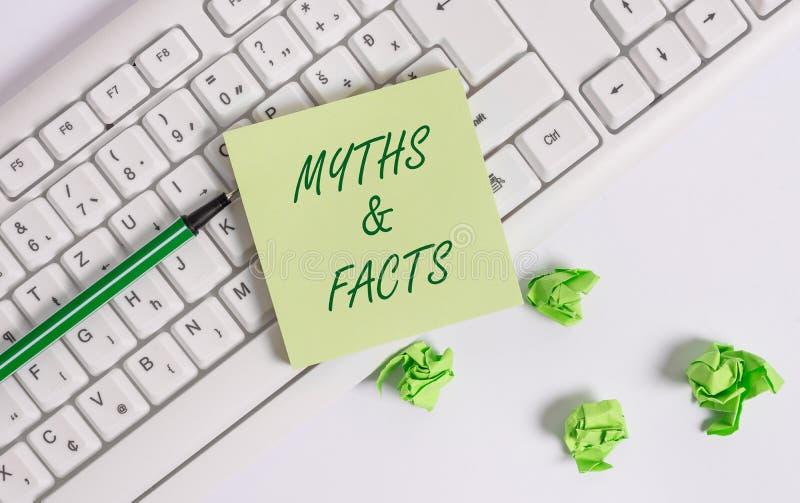 Wortschreibenstext Mythen und Tatsachen Geschäftskonzept für normalerweise traditionelle Geschichte von anscheinend historischen  lizenzfreies stockbild