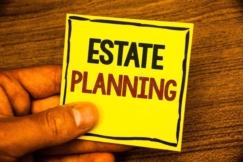 Wortschreibenstext Nachlassplanung Geschäftskonzept für den Versicherungs-Investitions-Ruhestandsplan-Hypotheken-Eigenschaften-Ma lizenzfreies stockbild