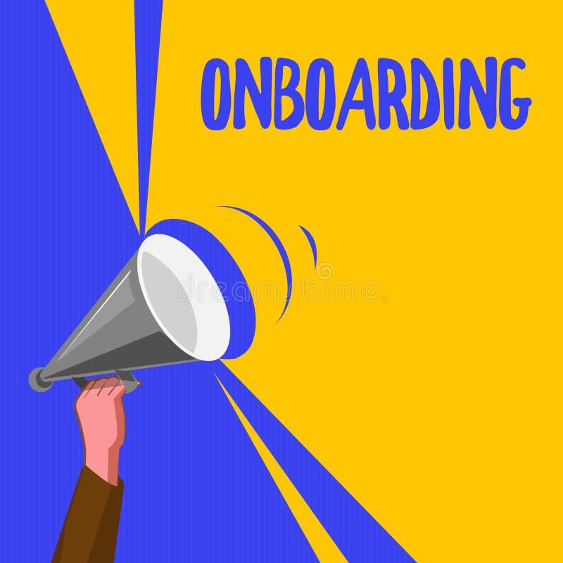 Wortschreibenstext Onboarding Geschäftskonzept für Aktions-Prozess der Integrierung eines neuen Angestellten in eine Organisation lizenzfreie abbildung