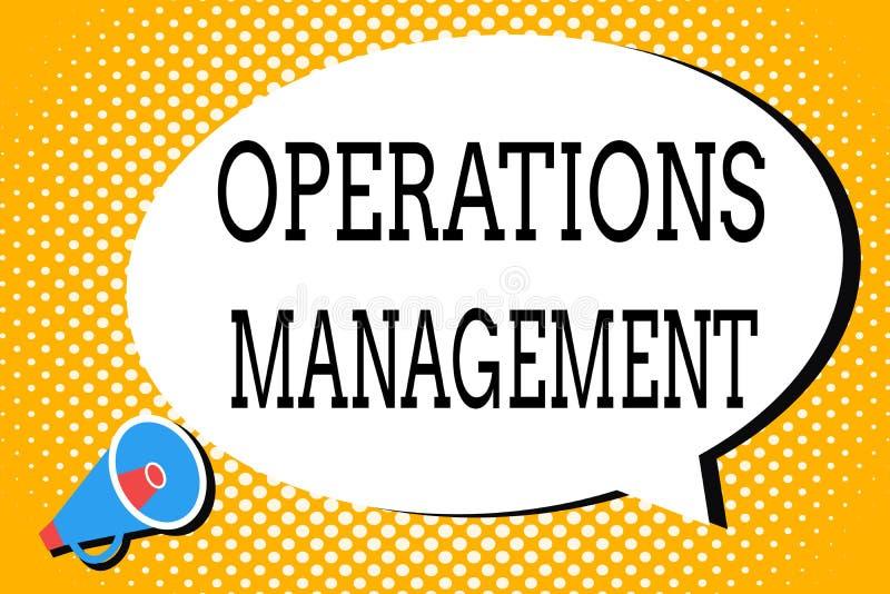Wortschreibenstext Operations-Management Geschäftskonzept für stellen Input sicher, um die Produktion und die Bestimmung auszugeb stock abbildung