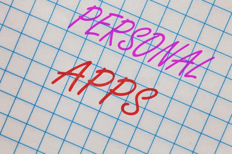 Wortschreibenstext persönliches Apps Geschäftskonzept für Organisator-Online Calendar Private-Informations-Daten-Notizbuch quadri lizenzfreie stockfotografie