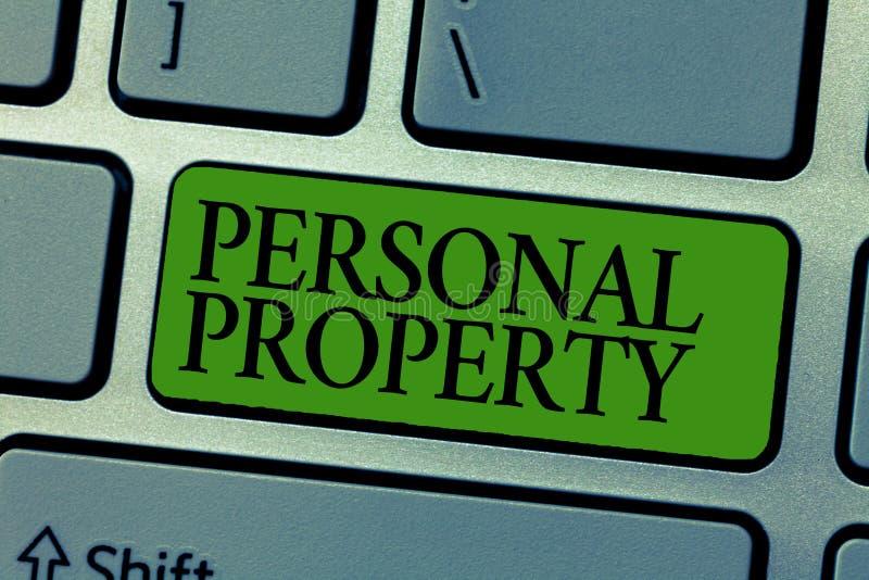 Wortschreibenstext persönliches Eigentum Geschäftskonzept für Sachen, denen Sie sie mit Ihnen nehmen beweglich besitzen und könne lizenzfreie abbildung
