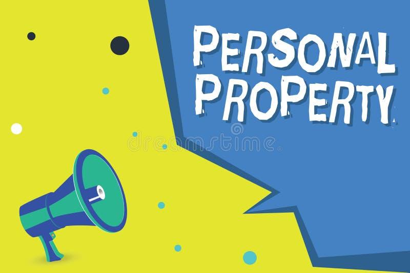 Wortschreibenstext persönliches Eigentum Geschäftskonzept für Sachen, denen Sie sie mit Ihnen nehmen beweglich besitzen und könne stock abbildung