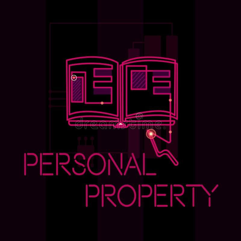 Wortschreibenstext persönliches Eigentum Geschäftskonzept für Sachen, denen Sie sie mit Ihnen nehmen beweglich besitzen und könne vektor abbildung