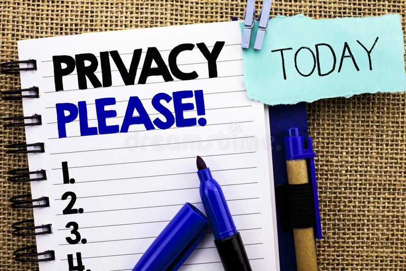 Wortschreibenstext Privatleben-bitte Motivanruf Geschäftskonzept für Let wir ist der ruhige Rest, der tun nicht Disturb geschrieb stockfotografie