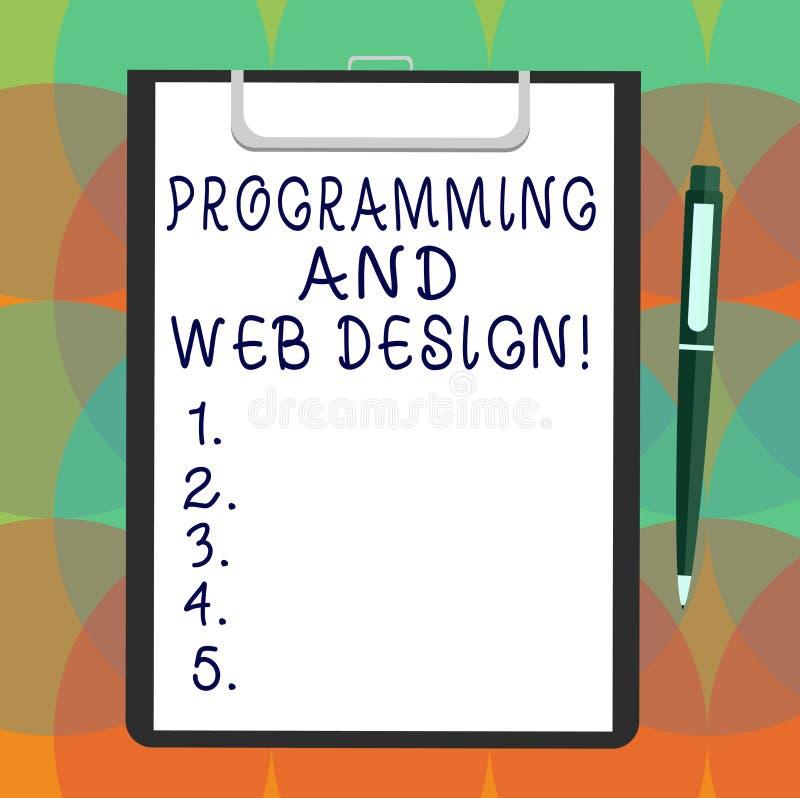 Wortschreibenstext Programmierung und Webdesign Geschäftskonzept für die Websiteentwicklung, die Webseiten Leerbeleg entwirft vektor abbildung