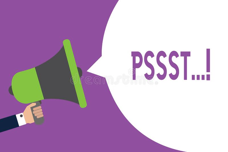 Wortschreibenstext Pssst Geschäftskonzept, damit Ausdruck-Weise Aufmerksamkeit von jemand ist ruhiger Ruhe-Mann erregt lizenzfreie abbildung