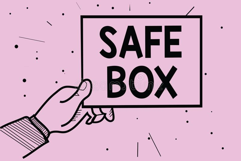 Wortschreibenstext Safe-Kasten Geschäftskonzept für kleine Struktur A, in der Sie wichtig halten können oder wertvolle Sachen bem lizenzfreie abbildung