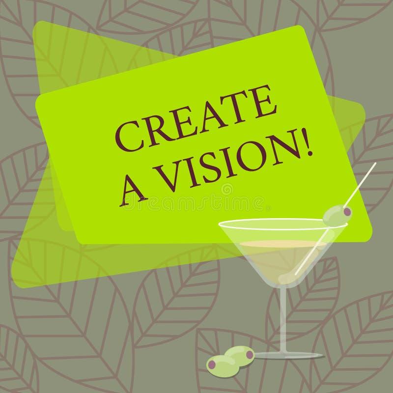 Wortschreibenstext schaffen eine Vision Geschäftskonzept für Develop ein Strategieauftrag-Motivationszweck zu erzielen gefüllt stock abbildung