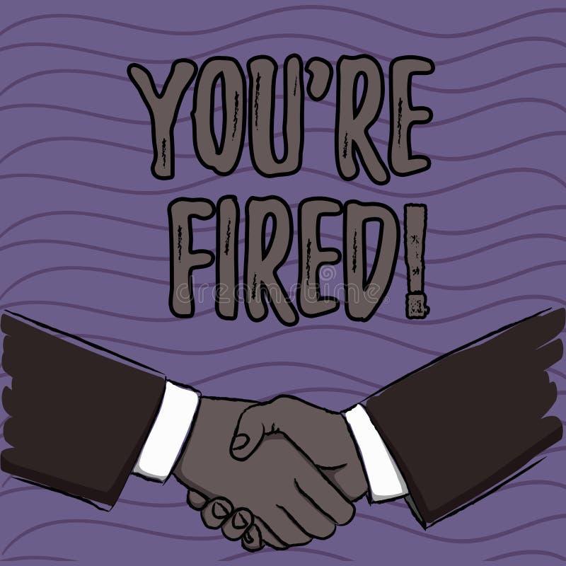 Wortschreibenstext Sie bezüglich abgefeuert Geschäftskonzept für verwendet durch Chef zeigen Angestellten an, dass er vom Job ent stock abbildung