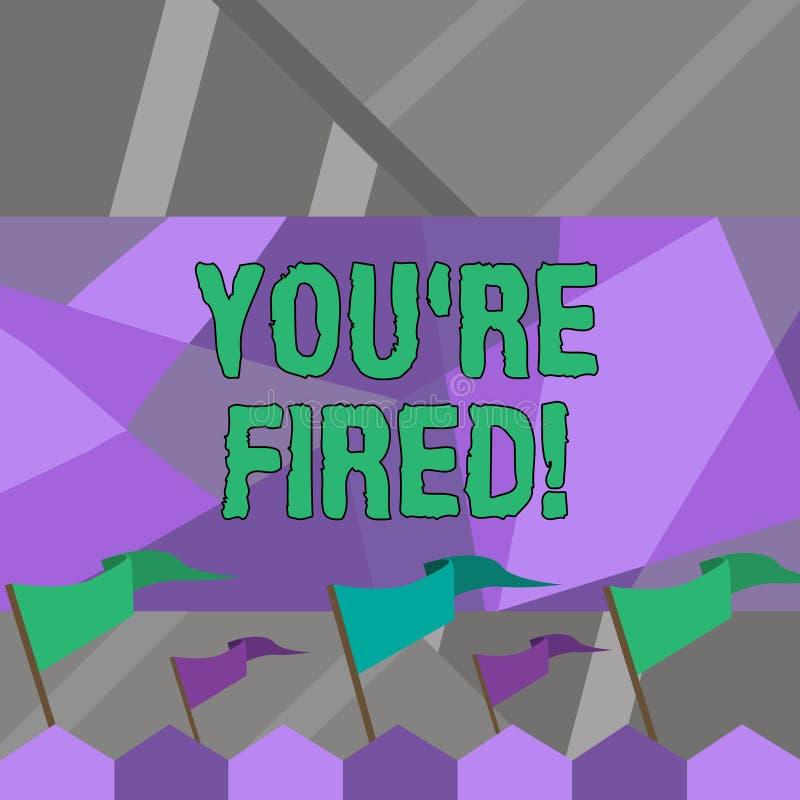 Wortschreibenstext Sie bezüglich abgefeuert Geschäftskonzept für verwendet durch Chef zeigen Angestellten an, dass er von Job fre stock abbildung
