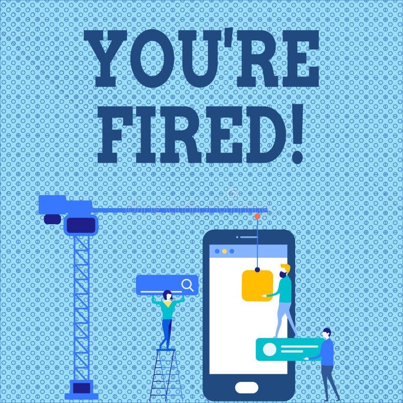 Wortschreibenstext Sie bezüglich abgefeuert Geschäftskonzept für verwendet durch Chef zeigen Angestellten an, dass er von Job Per lizenzfreie abbildung