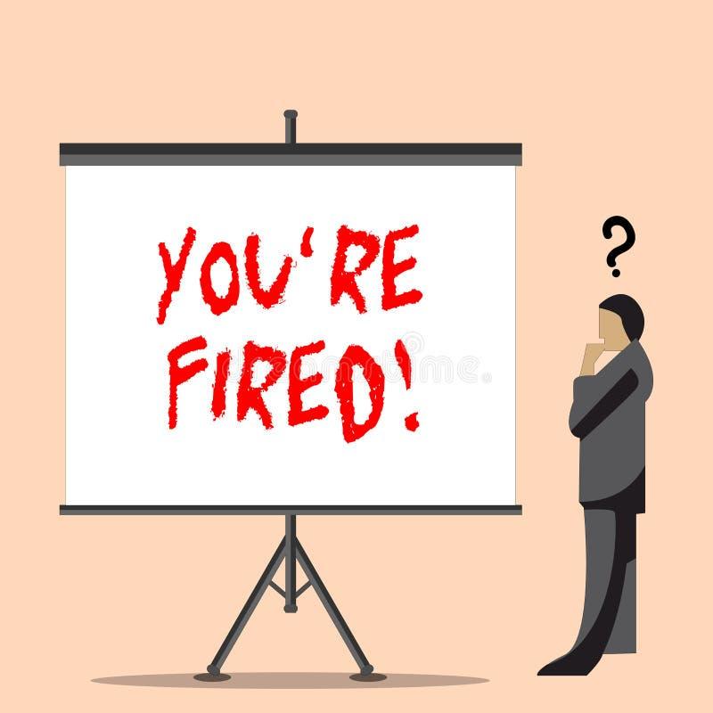 Wortschreibenstext Sie bez?glich abgefeuert Gesch?ftskonzept f?r verwendet durch Chef zeigen Angestellten an, dass er vom Job ent lizenzfreie abbildung