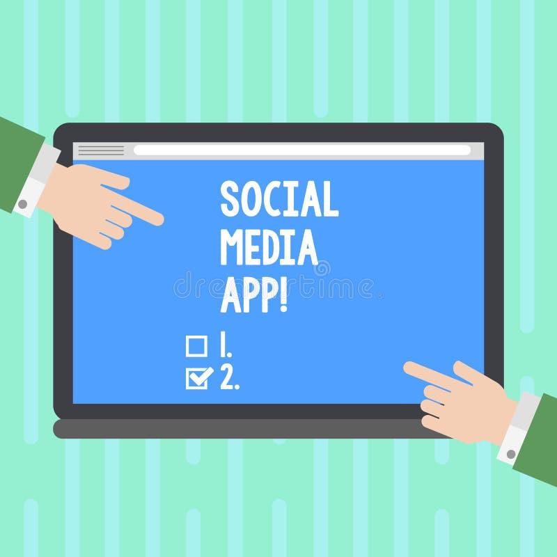 Wortschreibenstext Social Media App Geschäftskonzept für Schaffung und das Teilen von Ideenkarriereinteressen über Internet HU stock abbildung