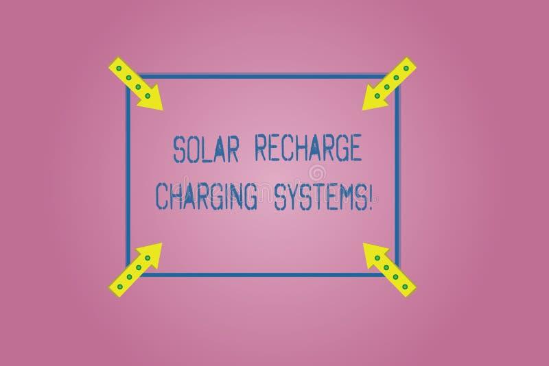 Wortschreibenstext Solarnachladen-Aufladungs-Systeme Geschäftskonzept für neue innovative alternative Energiezufuhren stock abbildung