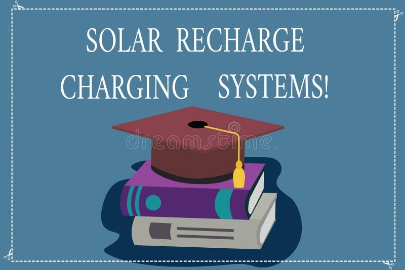 Wortschreibenstext Solarnachladen-Aufladungs-Systeme Geschäftskonzept für neue innovative alternative Energiezufuhren Farbe lizenzfreie abbildung