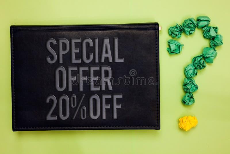 Wortschreibenstext Sonderangebot 20 weg Geschäftskonzept für Rabattförderung Verkäufe verkaufen Marketing-Angebot-Grünrückseitens lizenzfreie stockfotografie