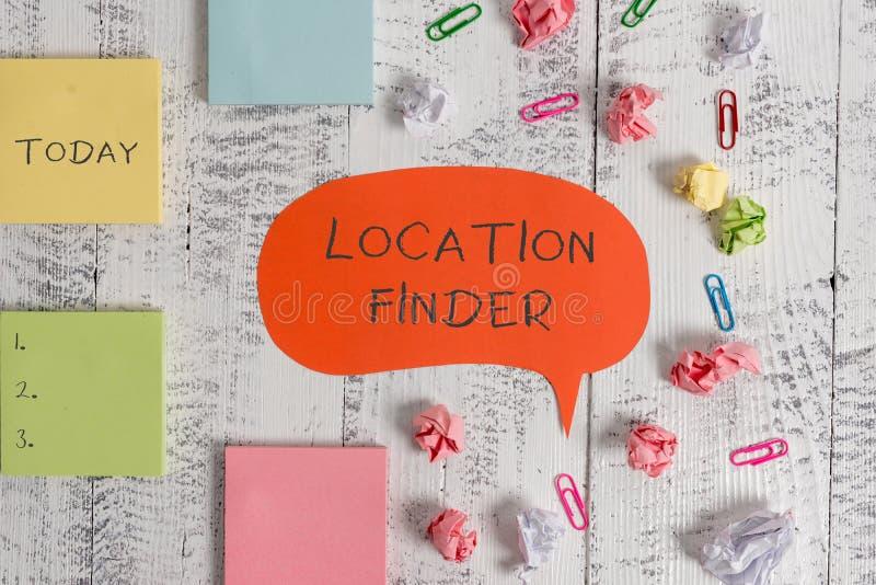 Wortschreibenstext Standort-Sucher Geschäftskonzept für Dienstleistungsmerkmal, um die Adresse eines vorgewählten Platz freien Ra lizenzfreies stockfoto