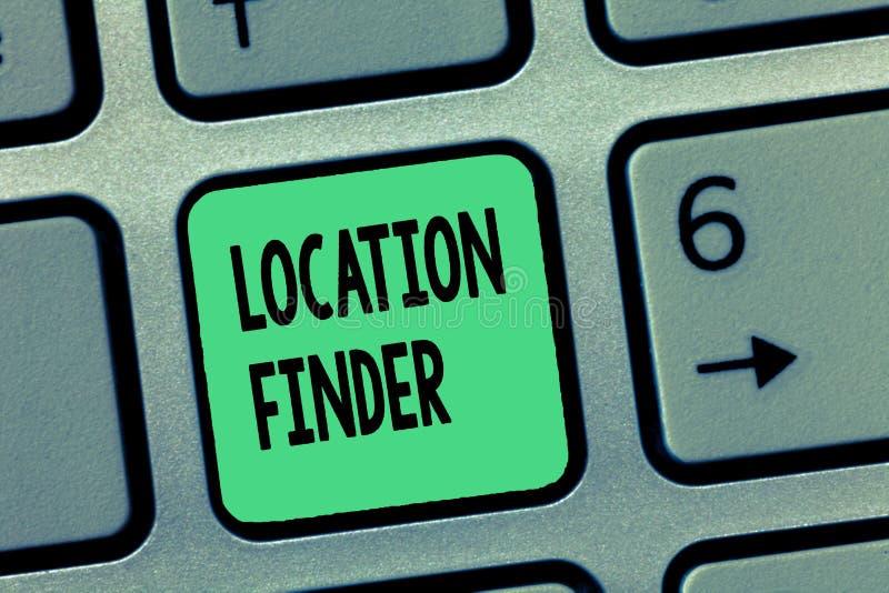 Wortschreibenstext Standort-Sucher Geschäftskonzept für a-Service gekennzeichnet, um die Adresse eines vorgewählten Platzes zu fi lizenzfreie stockbilder