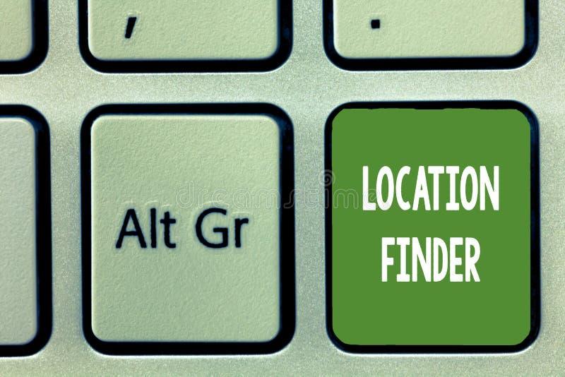 Wortschreibenstext Standort-Sucher Geschäftskonzept für a-Service gekennzeichnet, um die Adresse eines vorgewählten Platzes zu fi lizenzfreie abbildung
