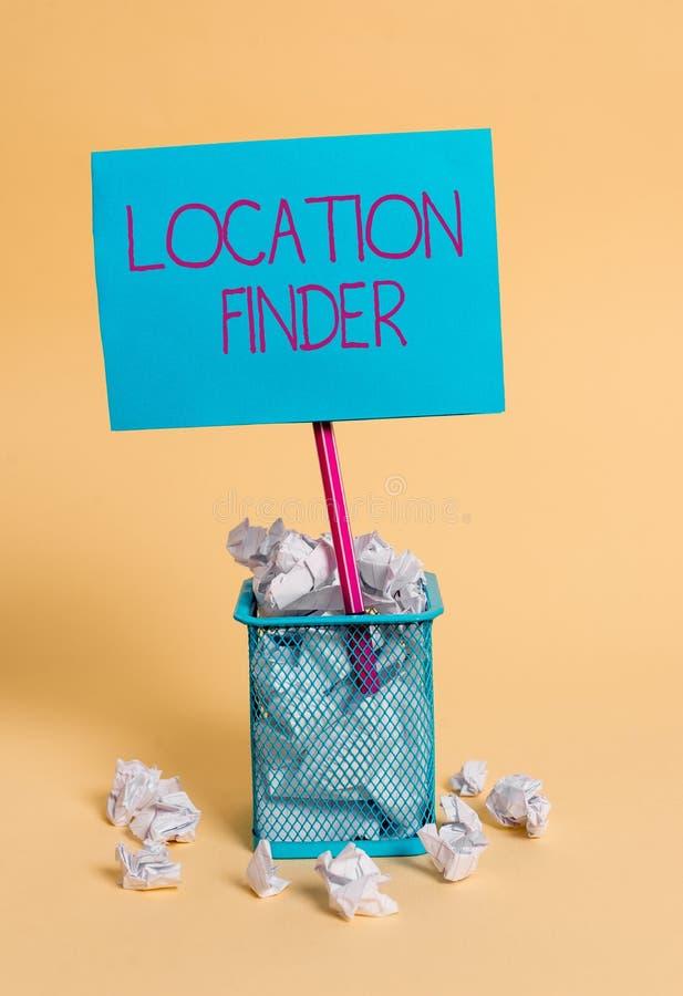Wortschreibenstext Standort-Sucher Gesch?ftskonzept f?r a-Service gekennzeichnet, um die Adresse eines vorgew?hlten Platzes zu fi lizenzfreies stockfoto