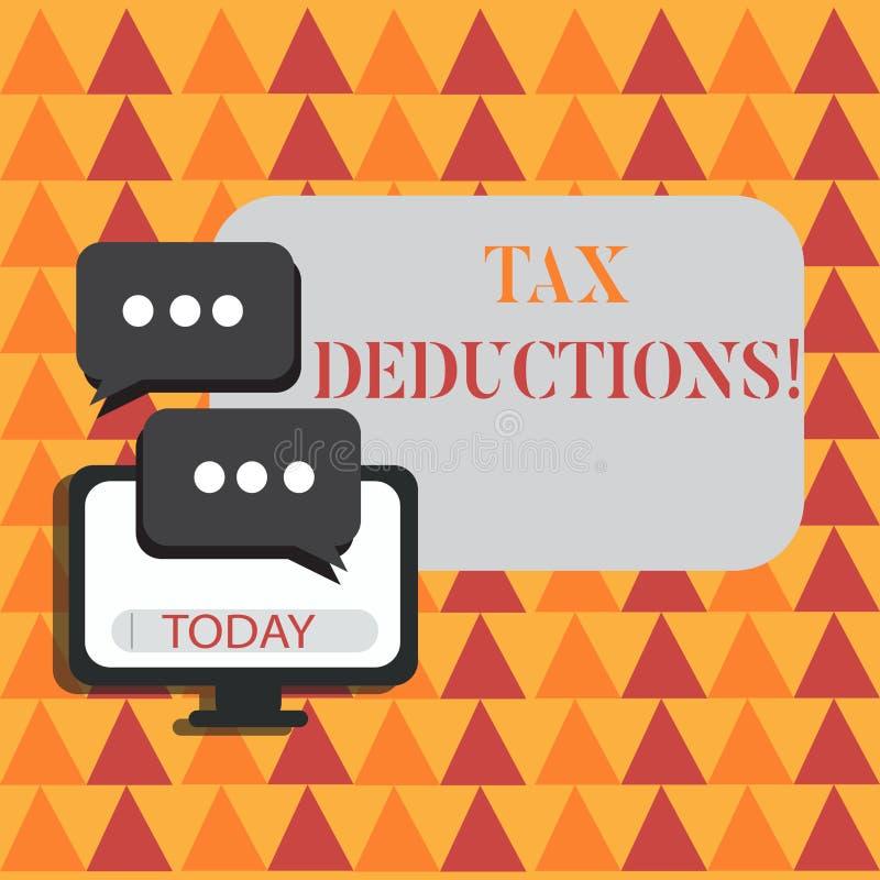 Wortschreibenstext Steuerabzüge Geschäftskonzept für Reduzierungseinkommen, das ist, von Ausgaben freiem Raum besteuert zu werden stock abbildung