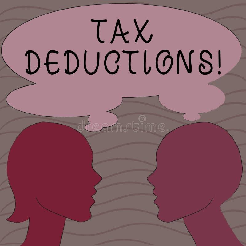 Wortschreibenstext Steuerabzüge Geschäftskonzept für Reduzierungseinkommen, das ist, von Ausgaben Schattenbild besteuert zu werde lizenzfreie abbildung