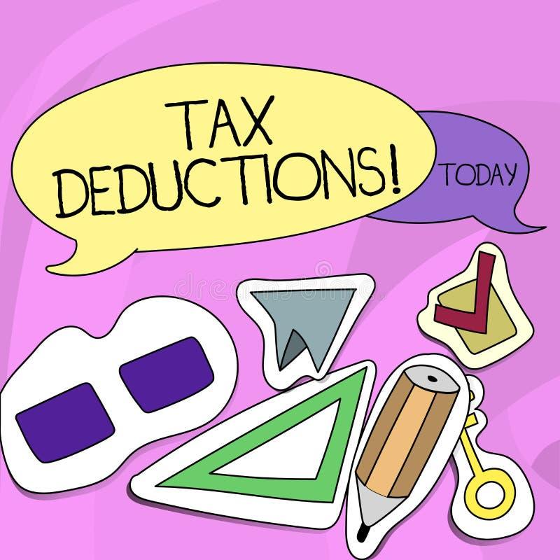 Wortschreibenstext Steuerabzüge Geschäftskonzept für Reduzierungseinkommen, das ist, von Ausgaben zwei leerem besteuert zu werden lizenzfreie abbildung