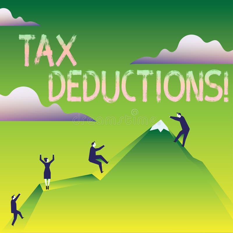 Wortschreibenstext Steuerabz?ge Geschäftskonzept für Reduzierungseinkommen, das ist, von Ausgaben Geschäft besteuert zu werden vektor abbildung