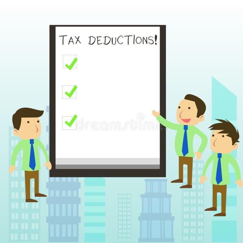 Wortschreibenstext Steuerabz?ge Geschäftskonzept für Reduzierungseinkommen, das ist, von den Ausgaben besteuert zu werden lizenzfreie abbildung